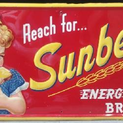 Sunbeam Bread Embossed Tin Sign