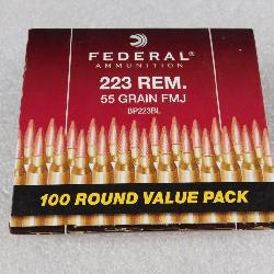 100 Rounds Federal .223 REM Ammo 55 Grain FMJ