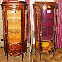 Hand Painted Gilt & Ormalu Curio Cabinets
