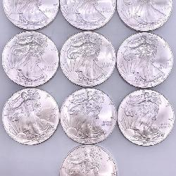 LOT OF 10 2010 WALKING LIBERTY SILVER $1 PIECES