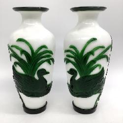 Pair of Chinese Peking Glass Vases