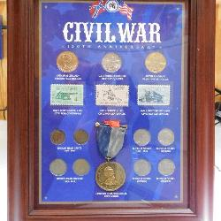 Civil War Frame with Stamps and Coins