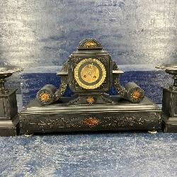 ANTIQUE OPEN ESCAPEMENT FRENCH GARNITURE CLOCK SET