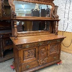 MONUMENTAL OAK GRIFFIN CARVED SIDEBOARD