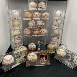 Autographed baseball memorabilia, St. Louis Cardinals, Stan Musial, Ozzie Smith, David Freese
