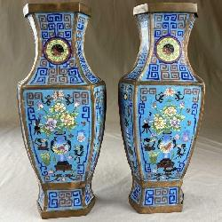 Pair Hexagonal Chinese Cloisonne Vases 15 1/2