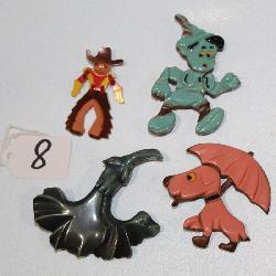 #8 Plastic Jewelry- Pinocchio & Cowboy