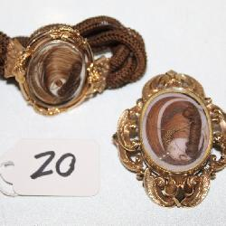 #20 (2) Pieces of Victorian Hair Jewelry - Woven hair bracelet