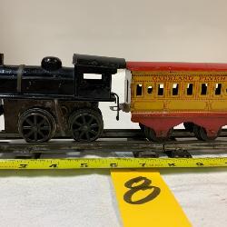 HAFNER TIN WINDUP TRAIN: ENGINE, 3 CARS