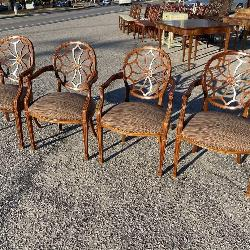 SET OF 4 WEB BACK ARM CHAIRS