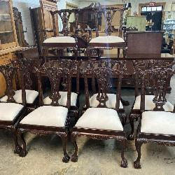 SET OF 10 CHIPPENDALE CHAIRS