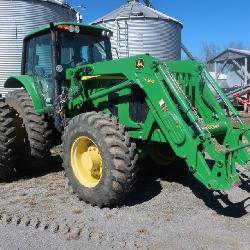 JD 7430 Premium, Cab,  2295 Hours, 3 Remotes, Quick Hitch, 480/80R42    Duals, 420/85R28 Fronts, SN H012769 With JD H360 Loader, Bucket