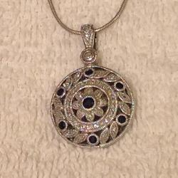 Sterling Silver Diamond and Sapphire Pendant Necklace