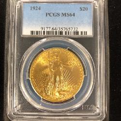 #262 1924 $20 Saint Gaudens Double Eagle Gold Coin
