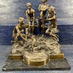 EX LARGE BRONZE OF CHILDREN ON MARBLE