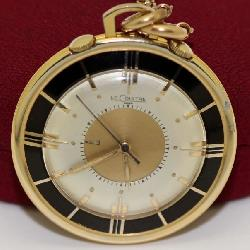 14K Le Coultre Table Travel Pocket Watch w/ 14K Chain