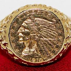 1910 2 1/2 Gold Coin In 14K Ring Setting
