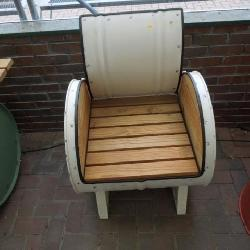 Metal & wood barrel chair