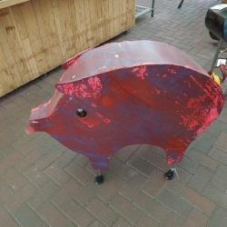 Large metal handmade pig