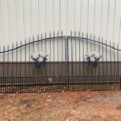 Wrought iron deer gate approx. 16' opening