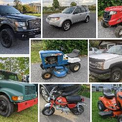 tractor, trucks, cars, equipment