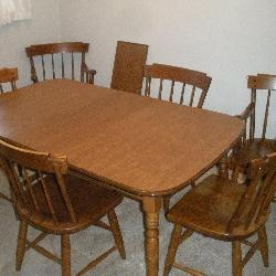 Heywood Wakefield Dining Table, 6 Chairs