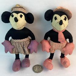 RARE Vintage 1930's Charlotte Clark Folk Art Mickey and Minnie Mouse Stuffed Dolls w/ Pink And Purple Checkerboard Outfits