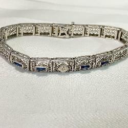 10k White Gold Art Deco Bracelet