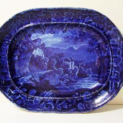 1840s Historic Flo-Blue Platter Signed Burslem