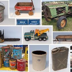 Antiques, tools, crocks, cast iron, car parts