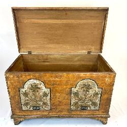 Paint Decorated Early Antique Blanket Chest with Double Floral Urn Motif
