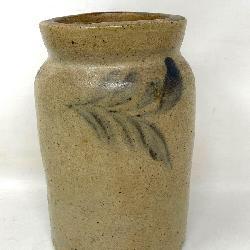 Antique Stoneware Crock with Cobalt Blue Decoration