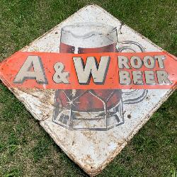 Rare 1960's A & W Root Beer - Embossed Tin Sign - Single-Sided 48x48 from Ann Arbor, MI