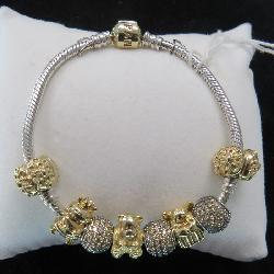 Pandora Bracelet w/gold Charms