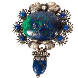 George Jensen Sterling Silver & Lapis Brooch Jewelry