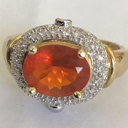 10KT YELLOW GOLD MEXICAN OPAL & DIAMOND RING