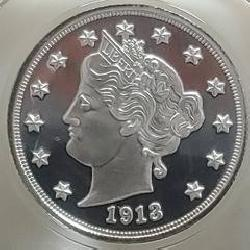 1913 Silver V-Nickel Proof Collector Coin