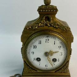 Antique 1855 French Medaille D'argent Vincenti Cie Gilt-Bronze Carriage Clock w/ Key WORKS
