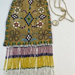Antique c. 1910 Native American Apache Beaded Bag Large Oversize 24
