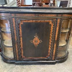 VICTORIAN REGENCY INLAID BOW GLASS CREDENZA