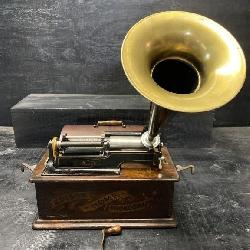 ANTIQUE EDISON HOME PHONOGRAPH WITH HORN