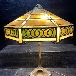 RARE ANTIQUE HANDEL 4 LIGHT BRONZE TABLE LAMP