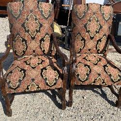 PAIR OF HIGH BACK CARVED OPEN ARM CHAIRS