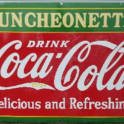 Porcelain Coca Cola Luncheonette Double Sided Sign