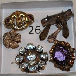 #26 Victorian Pins - Seed Pearl, Garnet, Amethyst, Smokey Quartz dangle pin, & 12K Foiled White +