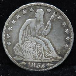 1855 WITH ARROWS SEATED HALF DOLLAR