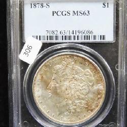 1878 S MORGAN DOLLAR PCGS MS 63