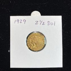 1929  $ 2.50 Indian Head Gold Quarter Eagle Coin