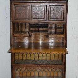 Very Rare Oak Paneled & Leaded Glass Doors Stacking Bookcase w/ Desk & Drawer