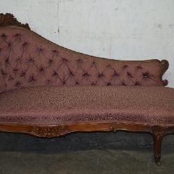 Walnut Carved Victorian Fainting Sofa